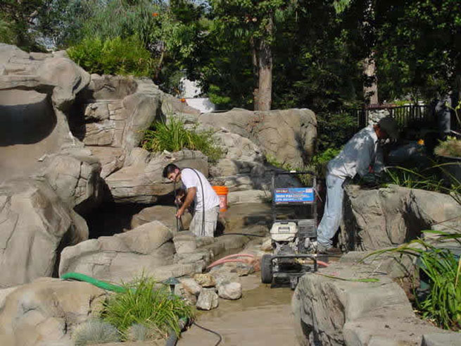Photo gallery of swimming pool rockslides waterfalls how - How to build a swimming pool waterfall ...