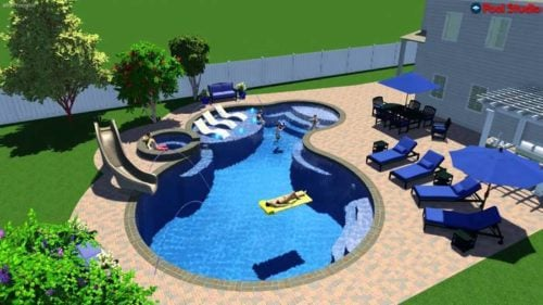 2d - 3d rendering of pool and yard